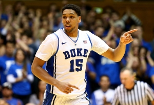 DURHAM, NC - DECEMBER 15:  Jahlil Okafor #15 of the Duke Blue Devils reacts after a basket against the Elon Phoenix during their game at Cameron Indoor Stadium on December 15, 2014 in Durham, North Carolina.  (Photo by Streeter Lecka/Getty Images)